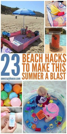 23 Beach Hacks to Make the Summer a Blast – 23 Strand-Hacks, die den Sommer zum Erlebnis machen – Strand Hacks, Baby Am Strand, Beach Hacks, Beach Ideas, Ideias Diy, Mason Jar Diy, Summer Activities, Road Trip Activities, Ocean Activities