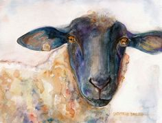 Watercolor Painting Sheep PRINT 8x10 Original by CathyDarling