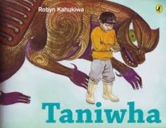 """I liked this story because it teaches you about what a Taniwha does. Its a protecter not a monster. Kestrel, V. """"Taniwha"""" New Zealand: Puffin Books Maori Designs, Mighty Ape, Touching Stories, Welcome To The Family, Artist Art, Art Images, Penguins, New Zealand, Mythology"""