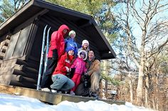 Winter cabin camping, Wild River Sate Park