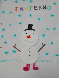 En plena ola de frío nos dedicamos a hacer muñecos de nieve con discos de algodón.    Pegamos dos discos de algodón en un folio para form...