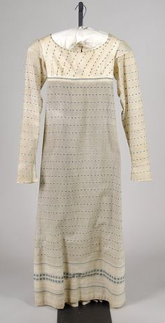 Cotton gown with delightful blue dash pattern.  1815 Met museum