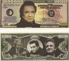 Johnny Cash $Million Dollar$ Novelty Bill Collectible
