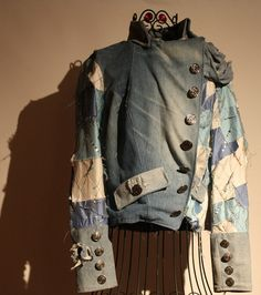 showdiva designs Tattered Military Bluejean Jacket with Patchwork Silk n Sequins n Sculpted Rose