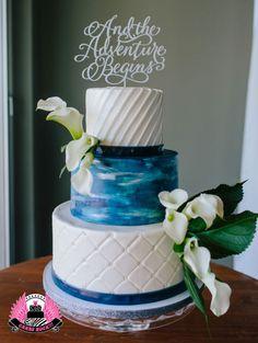Painted & Pleated Wedding Cake