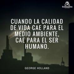Cuando la calidad de vida cae para el medio ambiente, cae para el ser humano.