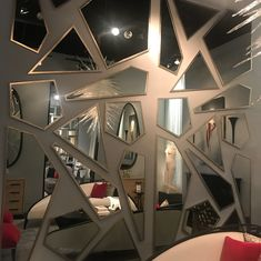 Swipe left for more. shopping for my clients. And website.a true kid in the candy store Glass Design, Wall Design, House Design, Mirror Store, Mirror Panel Wall, High Point Furniture, Dining Room Storage, Statement Wall, Roomspiration