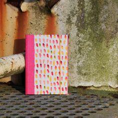 Pink Grau gemustertes DIN A5 Notizbuch mit Gummikordel