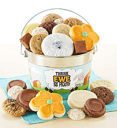Thank Ewe So Much Treats Pail | Cheryls.com | Our yummy buttercream frosted cut-out cookies, snack size gourmet cookies and brownies, a delightful hand decorated crunchy shortbread cookie and sweet and salty pretzel clusters are delivered in a shiny silver pail! A sweet way to say thanks to coworkers, friends and family! Thank You Cookies, Cut Out Cookies, Brownie Cookies, Shortbread Cookies, Gourmet Cookies, Gluten Free Cookies, Cookie Frosting, Buttercream Frosting