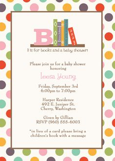 Book Baby Shower Invitation in lieu of a by freshlysqueezedcards, $13.00