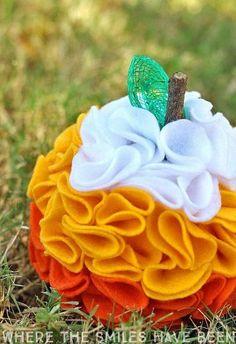 Ruffled Felt Candy Corn Pumpkin