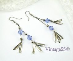 Vintage Earrings Silver feather Blue bead drop by Vintage55, $16.00