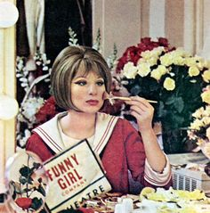 """Barbra Streisand, backstage during the """"Funny Girl"""" Broadway run, 1964."""