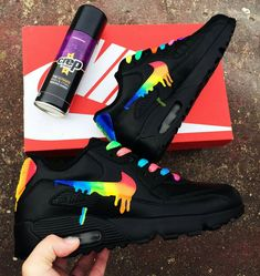 Rainbow drippy nike air max 90 – Best Long boots outfit – Ways to Wear Boots The Definitive Guide Nike Air Max, Air Max 90, Nike Shoes Air Force, Cute Sneakers, Sneakers Nike, Yellow Sneakers, Rainbow Sneakers, Aesthetic Shoes, Lit Shoes