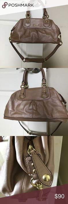 Nude Coach Bag 100% authentic Coach handbag! Amazing condition! No stains or scratches. Comes with strap. Soft leather with silk inside. Interior handle has minor leather wear as shown in picture. Coach Bags Shoulder Bags