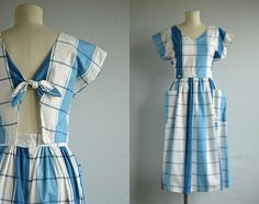Vintage 80s Dress / 1980s Blue and White Plaid by zestvintage