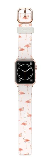 Casetify Apple Watch Band (38mm) Casetify Band - FLAMINGO PATTERN -Pink Background- Apple Watch by Ylfa Grönvold Illustrations #Casetify