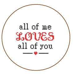 Instant Download Cross Stitch Pattern All of me by ZindagiDesigns, $3.00