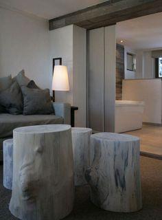 Fiona Barratt Interiors - love the white washed wood log stools / coffee tables My Home Design, Home Interior Design, Interior Architecture, Interior Decorating, House Design, Modern Design, Decorating Ideas, Decor Ideas, Bedroom Design Inspiration