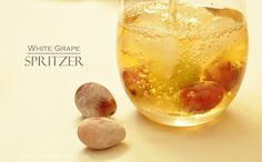 White Grape Spritzer (A fun tasty non-alcoholic drink to serve over the holidays!)  delicioushappens.com