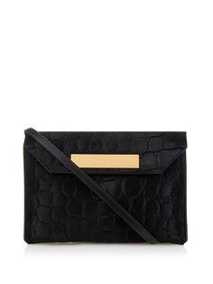 Cable crocodile-effect calf-hair clutch | Balenciaga | MATCHESFASHION.COM