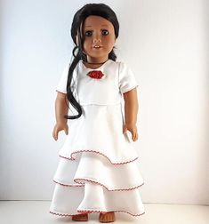 White Satin Dress, Satin Dresses, Doll Party, 18 Inch Doll, Red Ribbon, Doll Clothes, Party Dress, Cold Shoulder Dress, High Neck Dress