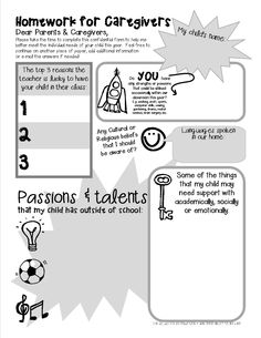 ~~FREE PRINTABLE~~ These fantastic 'first week of school homework sheets' are perfect for getting to know your new class and their families a little better! (Includes student and parent versions)