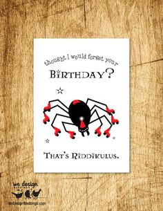 Printable - Harry Potter Riddikulus Spell Birthday Card. DIY Digital Download, design features a giant spider in roller skates and hat