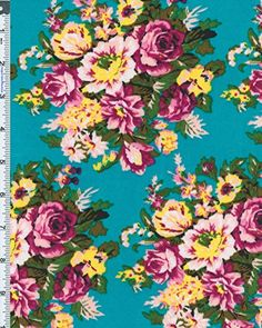 Stretch Poly Ponte-look Double Knit Spring Bouquet Floral Print Fabric By the Yard, Turquoise /Deep Magenta Designer Fabrics Warehouse http://www.amazon.com/dp/B018YL8COC/ref=cm_sw_r_pi_dp_Y6b7wb0P6ZC3K