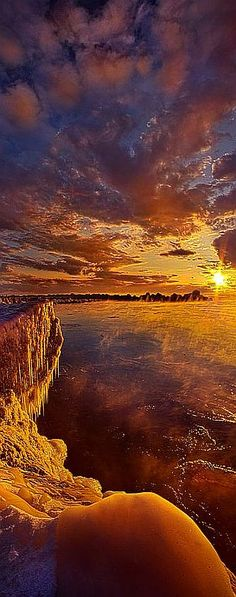At World's End -  Wisconsin Horizons--  By Phil Koch #sunset sky orange red amazing nature landscape seascape water ice