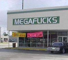 What happens when kerning goes wrong. Terribly wrong. This business' name is Mega Flicks.