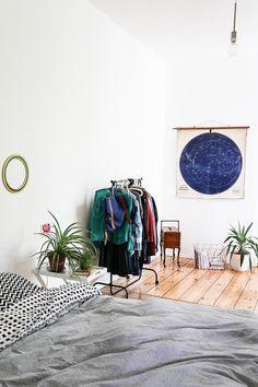 white bedroom + plan