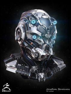 Sci-Fi Helmet - by Jonathan BENAINOUS, Jonathan BENAINOUS on ArtStation at https://www.artstation.com/artwork/sci-fi-helmet-by-jonathan-benainous