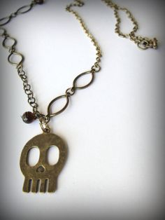 Love making one-of-a-kind! SeREnDiPiTy SALE  Brass Skull Necklace by JewelryByMaeBee on Etsy, $18.00