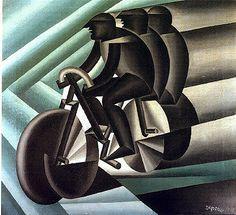 Art Deco cycling graphic, Fortunato Depero: cilcisti