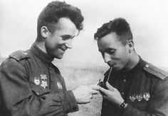 Soviet Union Ace pilots of the Soviet Air Force 5th Guards Fighter Aviation Regiment Junior Lieutenant of aviation Vitaly Popkov and Captain of...