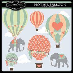Globos de aire caliente y los elefantes Clip Arte por DreAmLoft
