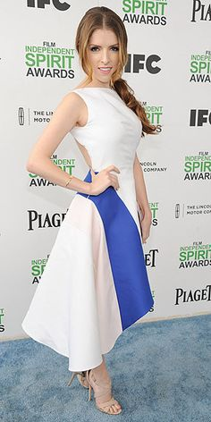 From Floral to Flannel, the Coolest Celebs at the Independent Spirit Awards | ANNA KENDRICK | This side ponytail wasn't part of her hair trial, but we think it's got Oscars updo potential. Today she's wear it with a flowy, asymmetric white dress with one bold blue stripe.