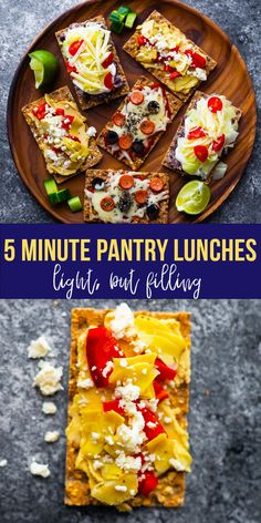 Get creative with these 5 minute pantry lunches! Assembled on crispbreads, they are ready in 5 minutes and made with pantry-friendly ingredients. #sweetpeasandsaffron #crispbread #5minutes #easylunch #simpleingredients #pantrystaples School Lunch Recipes, Best Lunch Recipes, Healthy Lunches For Kids, Healthy Dessert Recipes, Easy Dinner Recipes, Kids Meals, Lunch To Go, Lunch Meal Prep, Meal Prep Bowls