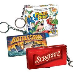 More key chain games. I actually used to have these attached to my backpack zippers when I was in high school back in the day. Cool Keychains, Diy Keychain, Pens Game, American Girl Doll Room, Tupperware, World's Smallest, Mouse Traps, Busy Bags, Barbie Accessories