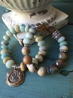Bronze mermaid charm pendant beachy boho blues gemstone summer bohemian stretch bracelet by MarleeLovesRoxy