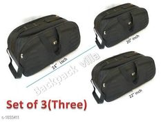 Bags & Backpacks Trendy Duffle Travelling Bag With Plastic Wheel ( Pack Of 3) Material: Matty fabric with plastic Wheel  Size: (L X W X H): 20 in X 22 in X 24 in Compartments: 2 Description: It Has Set of 3 Travel Duffle bag with plastic body Two wheel  Pattern: Solid Sizes Available: Free Size *Proof of Safe Delivery! Click to know on Safety Standards of Delivery Partners- https://ltl.sh/y_nZrAV3  Catalog Rating: ★4.1 (7427)  Catalog Name: Free Gift Trendy Duffle Travelling Bag With Plastic Wheel Vol 4 CatalogID_241113 C65-SC1234 Code: 459-1833411-