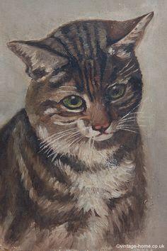 Vintage Home - Sweet Tabby Cat Oil Painting: www.vintage-home.co.uk