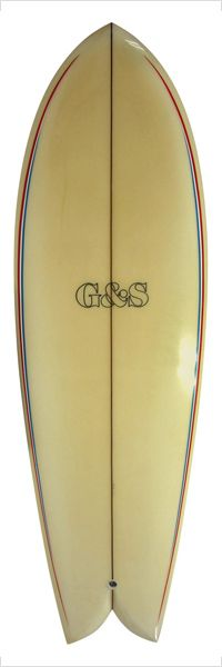 GORDON & SMITH 70`S CLASSIC FISH....bombing board, super rockered out, keel fin pit master.