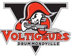 Drummondville Voltigeurs Primary Logo (2006) - A soldier in red holding a bayonette with a black V in the background.  Un soldat dans le rouge tenant un bayonette avec un V noir dans le fond.