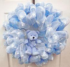 Baby Deco Mesh Wreath  Geo Mesh Wreath  Baby by giftbasketsupplies, $44.49