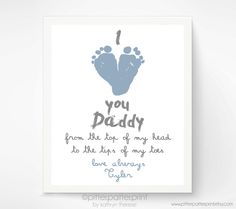 Valentines Day Gift for New Dad - I Love You Daddy Baby Footprint Art Print, Red Heart, Baby& First Valentines Day, Gift for Grandfather valentinecrafts Fathers Day Crafts, Valentine Day Crafts, Valentine Crafts For Toddlers, Daddy Valentine Gifts, First Valentines Day Baby, First Fathers Day, Holiday Crafts, Toddler Crafts, Kids Crafts