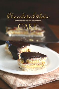 Chocolate Eclair Cak  Chocolate Eclair Cake - Low Carb and Gluten-Free   A decadent low carb, gluten-free cake with layers of meringue, pastry cream and sugar-free chocolate ganache. Chocolate eclairs in cake.