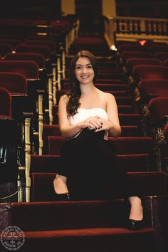 Sheas Senior Portraits on Stairs in Theater by portrait pretty photography