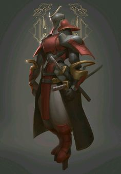 Red), Ju-Hui Zhou on ArtStation at… Fantasy Character Design, Character Concept, Character Inspiration, Character Art, Concept Art, Ronin Samurai, Samurai Armor, Futuristic Samurai, Samurai Concept